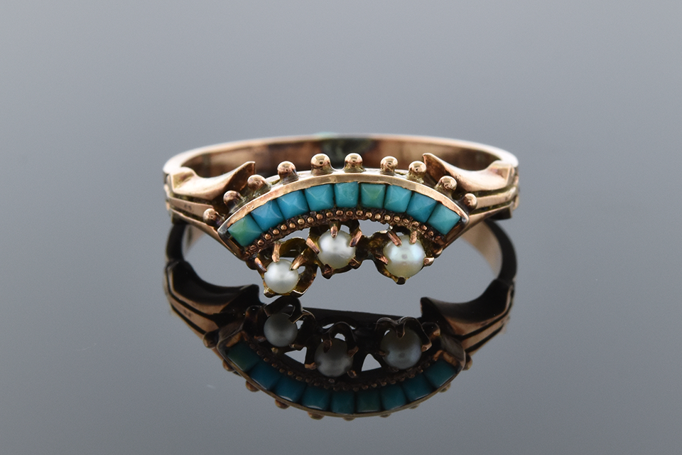 Item #2741 Victorian Turquoise and Pearl Ring 2741