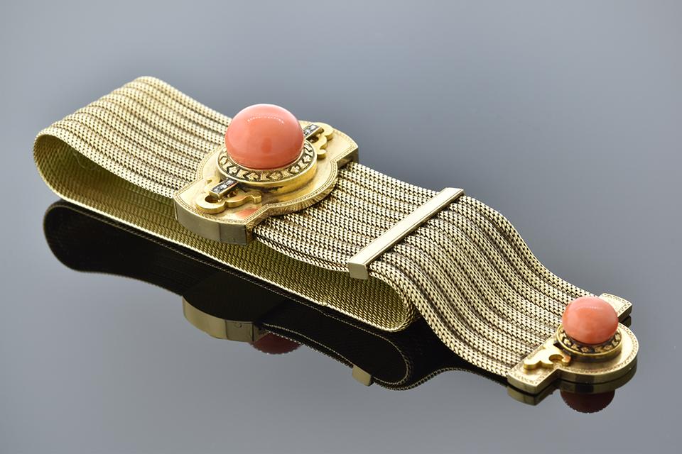 Item #5400 Victorian Coral Slide Bracelet 5400