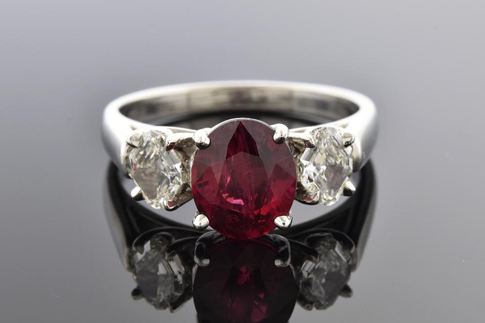 Item #5199 Unique Cut Diamonds with a Ruby Center