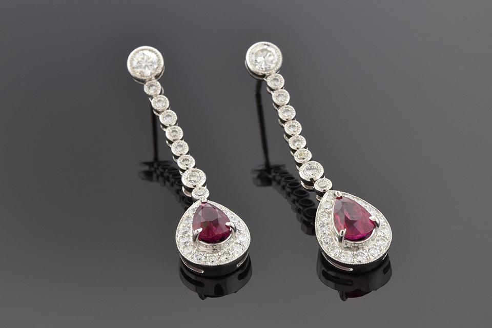 Item #4266 Ruby and Diamond Dangle Earrings 4266