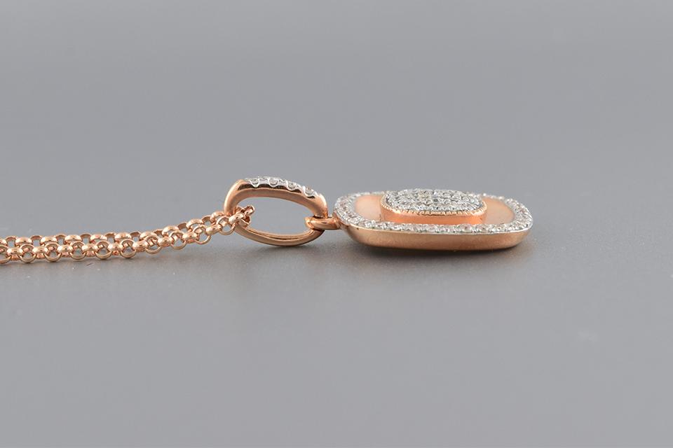 Rose Gold Pave Diamond Pendant