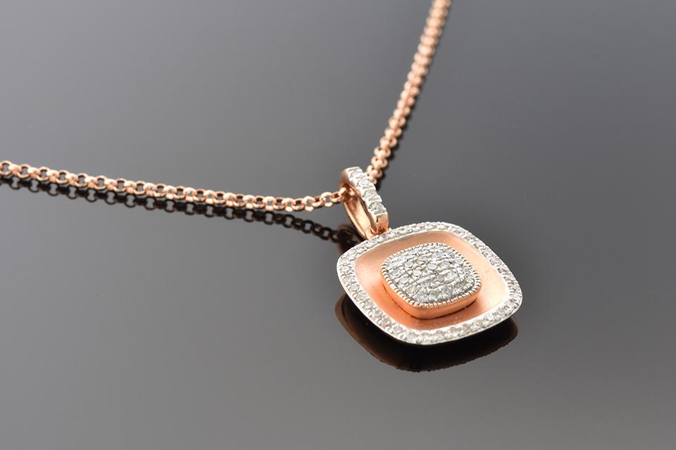 Item #1539 Rose Gold Pave Diamond Pendant 1539