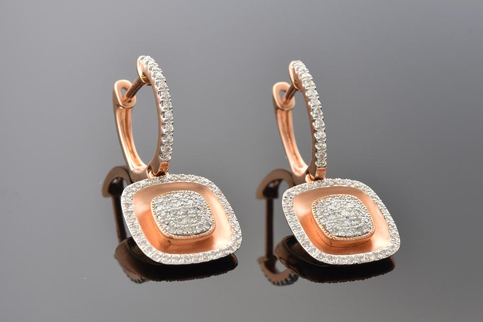 Item #1497 Rose Gold Pave Diamond Earrings 1497