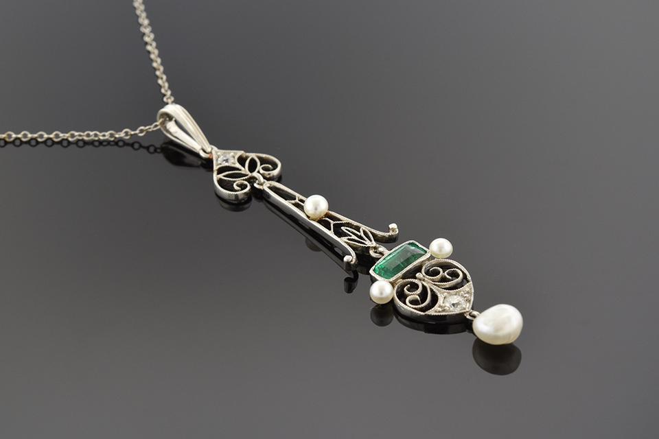 Item #1169 Antique filigree Emerald and Pearl Drop Pendant 1169