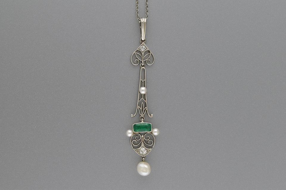 Antique filigree Emerald and Pearl Drop Pendant