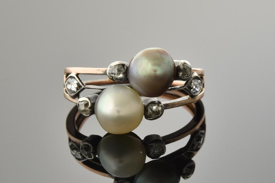 Item #5593 Georgian Pearl and Diamond Ring 5593