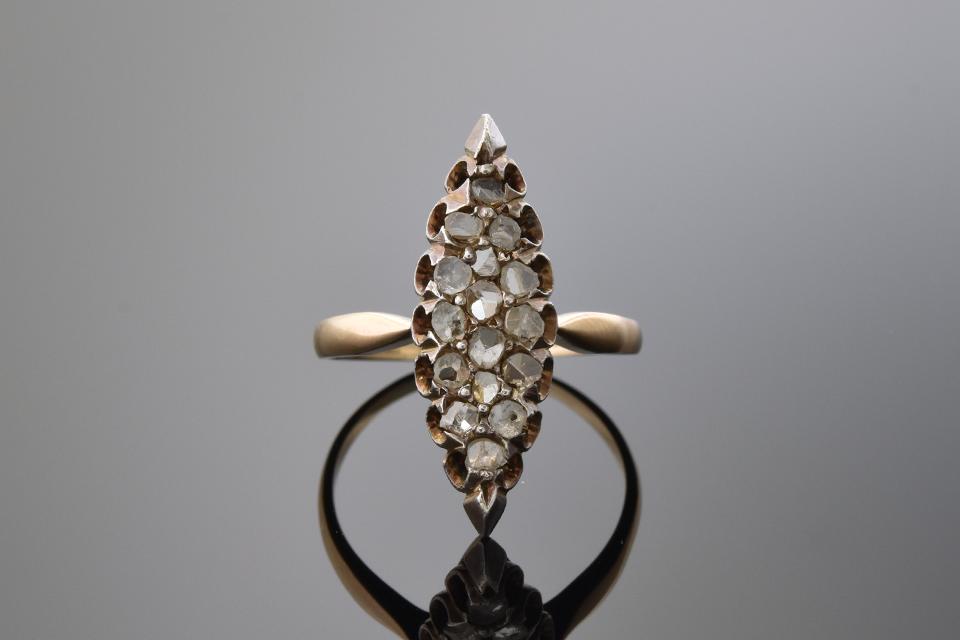 Item #1168 Antique Rose Cut Diamond Navette Ring 1168