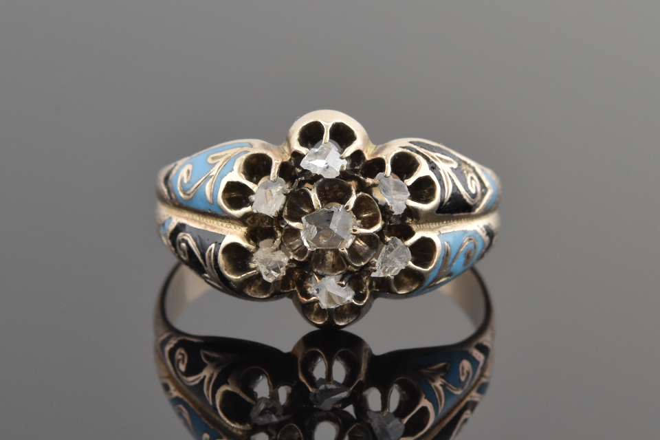 Rose Cut Diamonds with Blue and Black Enamel Ring