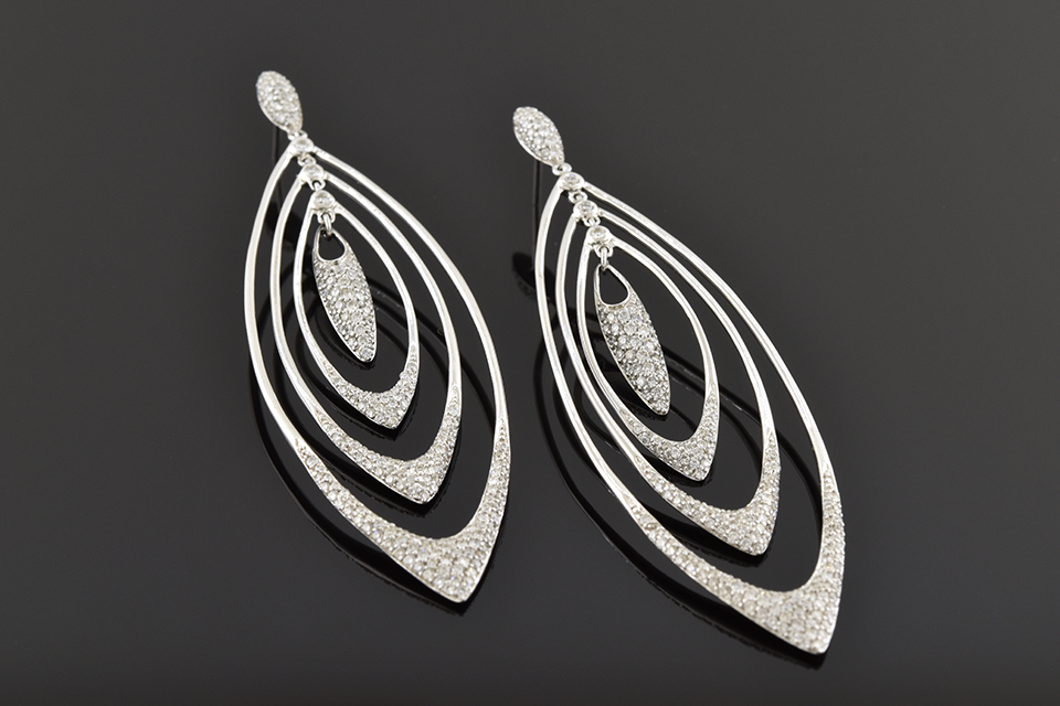 Item #5321 Long Loops Diamond Dangle Earrings 5321