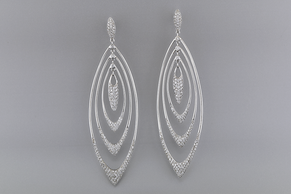 Long Loops Diamond Dangle Earrings