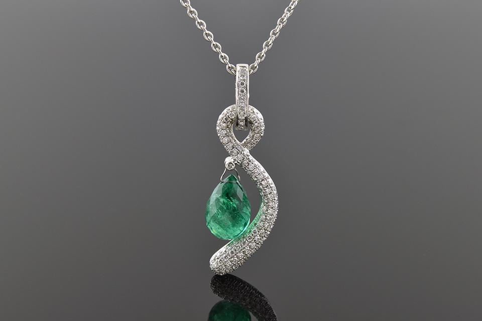 Item #5412 Diamond Swoosh Briolette Emerald Pendant 5412