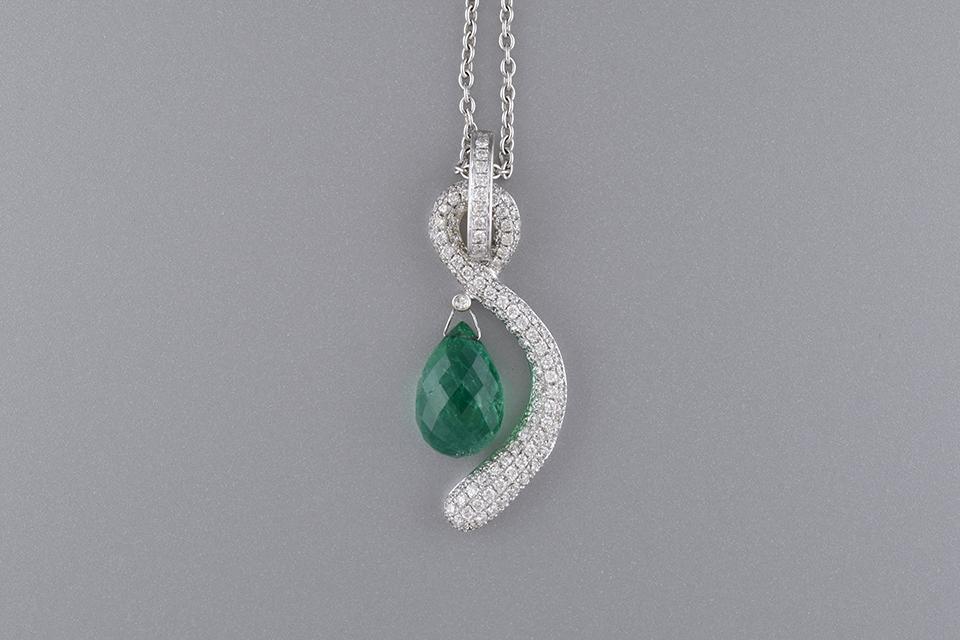 Diamond Swoosh Briolette Emerald Pendant