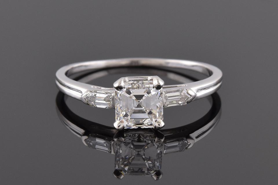 Item #4044 Square Emerald Cut and Bullet Diamond Ring 4044