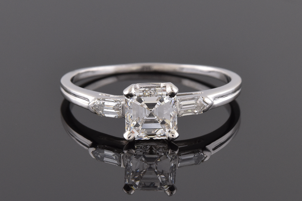 Item #4044 Square Emerald Cut and Bullet Diamond Ring