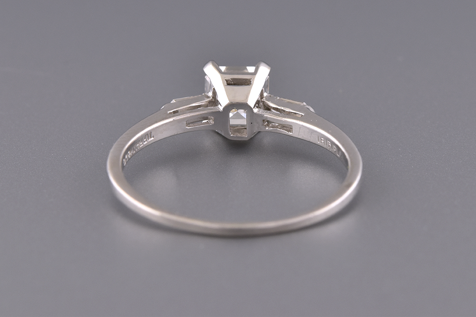 Square Emerald Cut and Bullet Diamond Ring