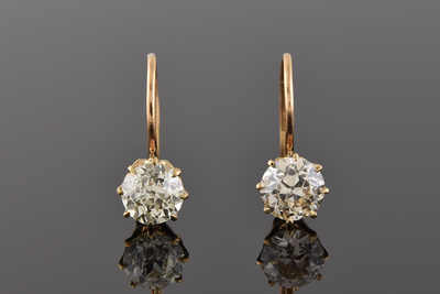 Antique Solitaire Drop Earrings