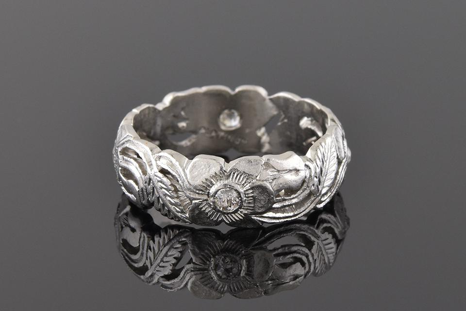 Item #1188 Carved Platinum Floral Diamond Band 1188