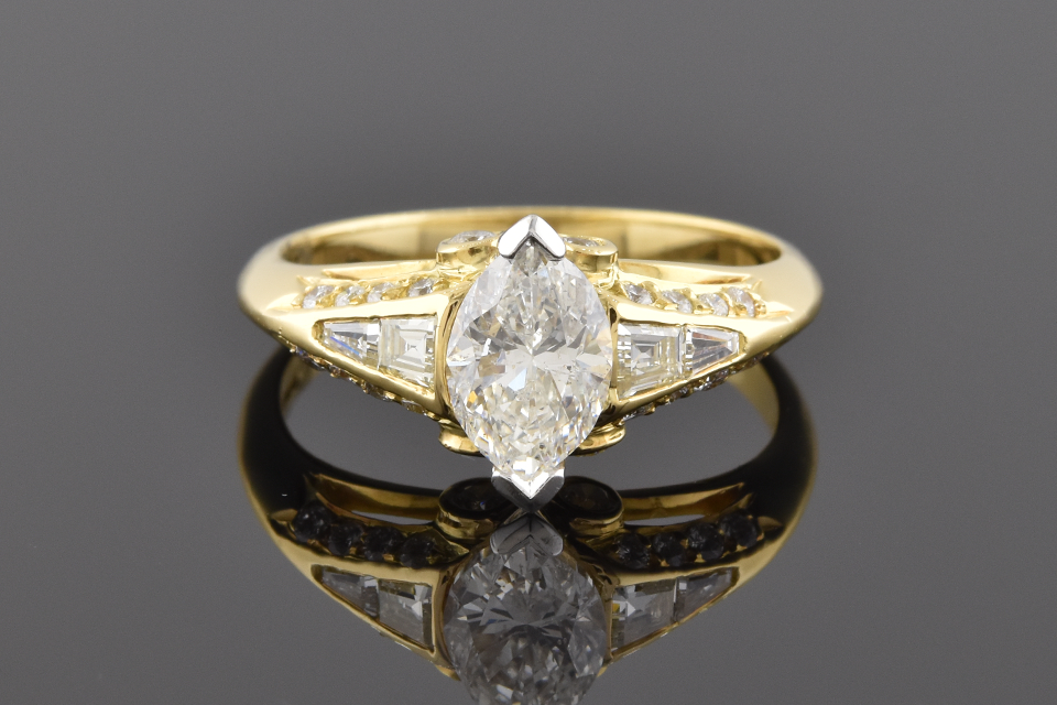 Item #6048 English Made Ring With A Marquise Diamond 6048