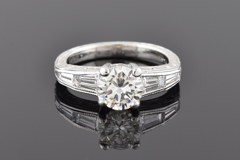 Item #4210 Engagement Ring With Vintage Inspired Engraving 4210