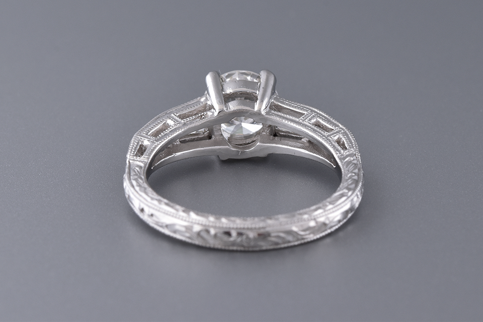 Engagement Ring With Vintage Inspired Engraving