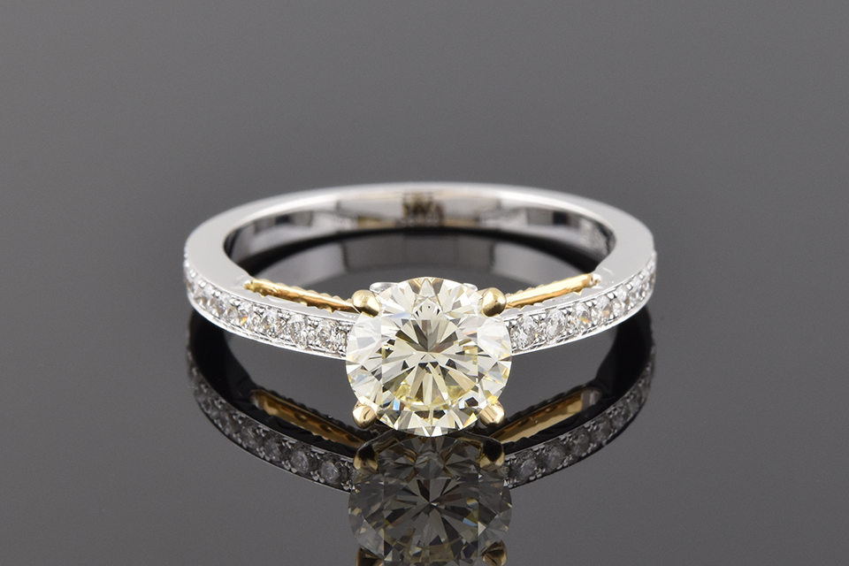 Item #4688 Two Toned Diamond Engagement Ring