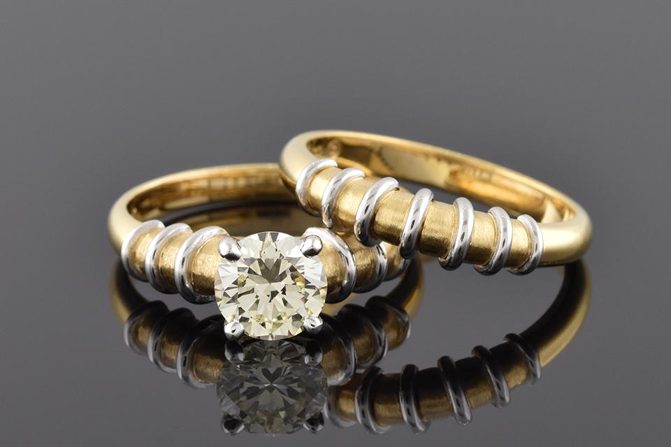 Item #5135 Wedding Set with Artistic Platinum Wire Detail 5135