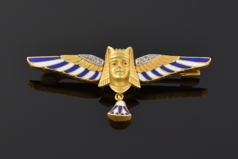 Item #4668 Enamel & Diamond Egyptian Revival Brooch 4668