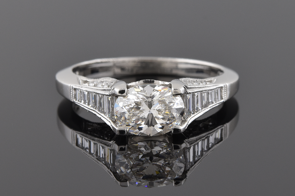 Item #4059 East West Set Oval Diamond in a Tacori Ring 4059