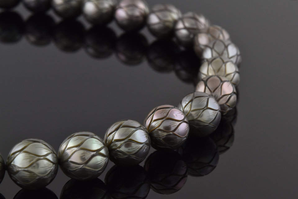 Item #9902 Carved Strand Of Tahitian Pearls 9902