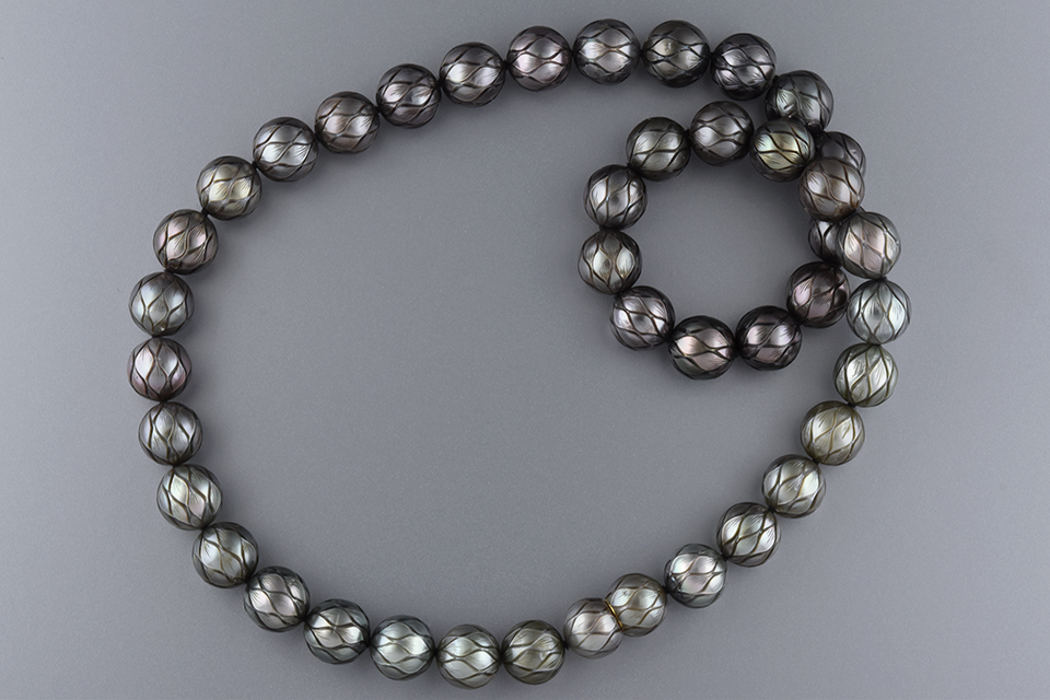 Carved Strand Of Galatea Tahitian Pearls