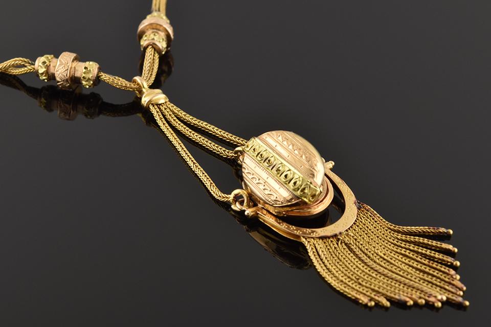 Item #11288 Antique Necklace with Decorative Tassel Locket 11288