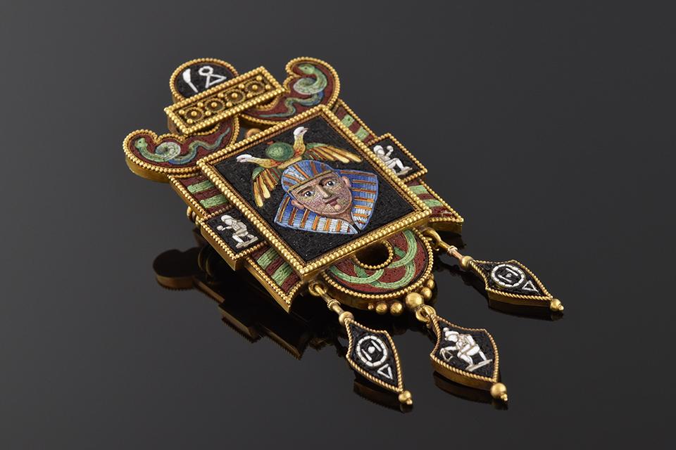 Item #4739 Micro Mosaic Egyptian Revival Brooch 4739