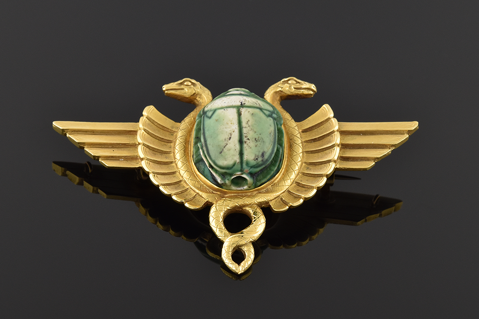 Item #4838 Egyptian Revival Scarab and Serpent Brooch 4838
