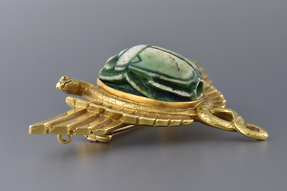 Egyptian Revival Scarab and Serpent Brooch
