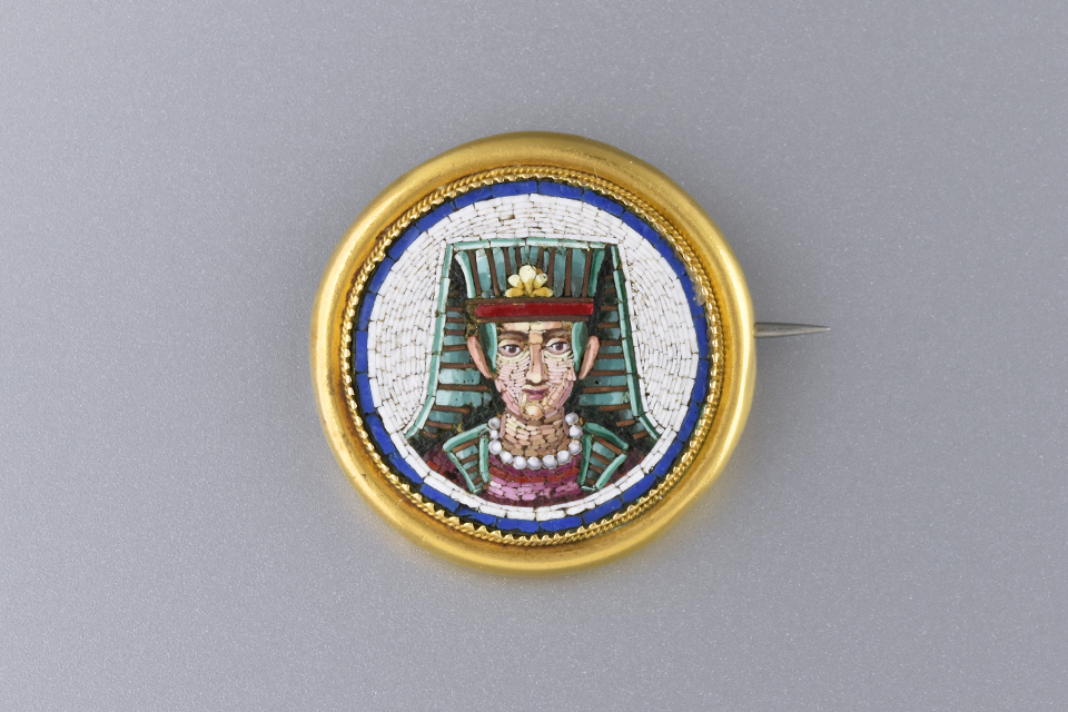 Egyptian Revival Micro Mosaic Brooch
