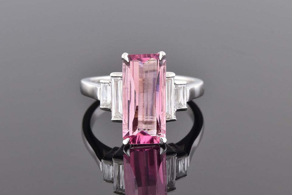 Item #10339 Elongated Pink Tourmaline with Criss Cut Diamond Accents 10339