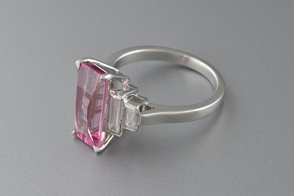 Elongated Pink Tourmaline and Criss Cut Diamond Accents