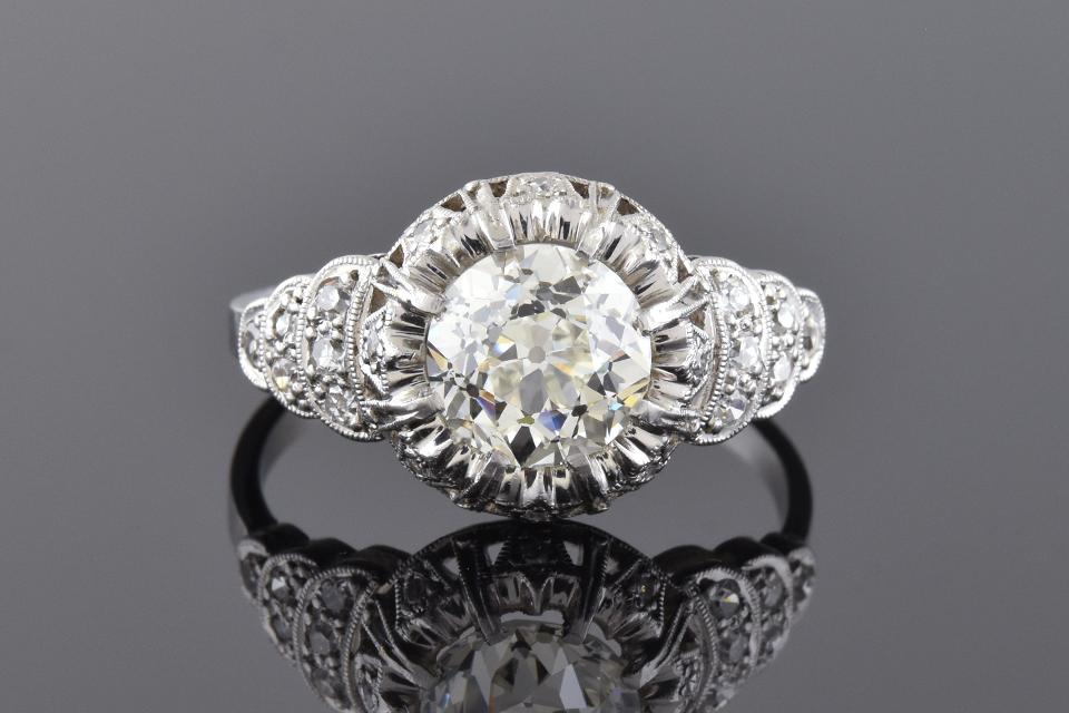Art Deco Diamond Ring With Tulip Design Halo 10253
