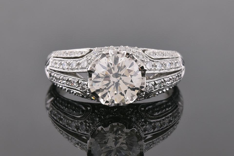 Item #10217 Art Deco Inspired Modern Diamond Engagement Ring 10217