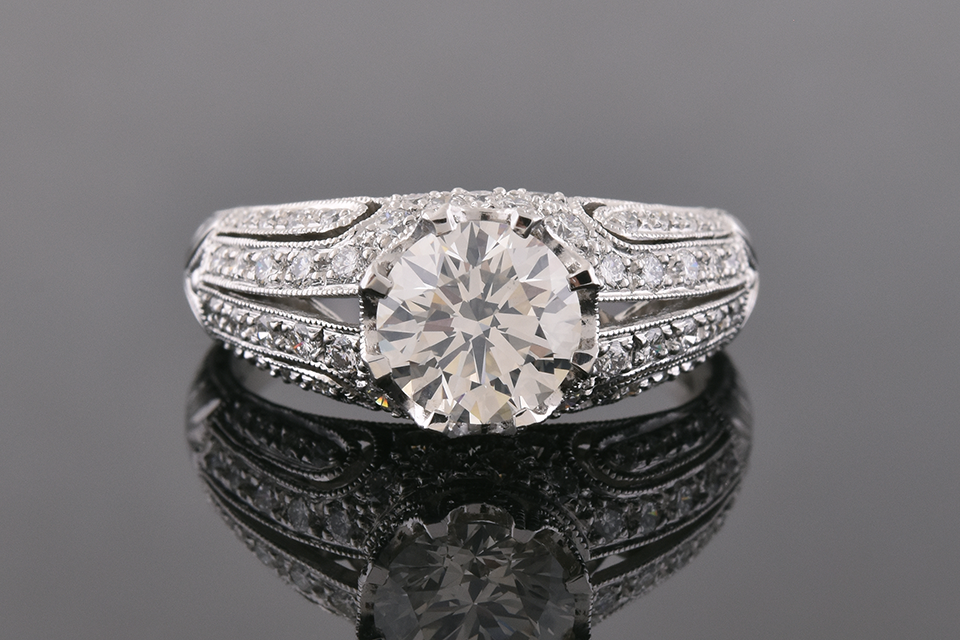 Item #10217 Art Deco Inspired Modern Diamond Engagement Ring
