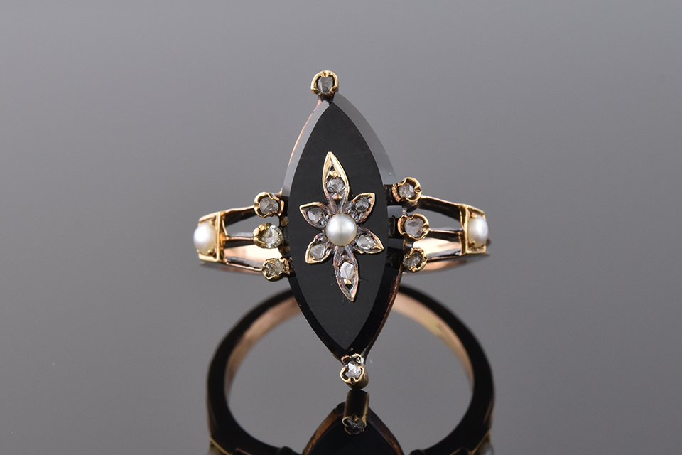 Item # 1288 Antique Navette Onyx Ring with a Diamond Flower Center 1288