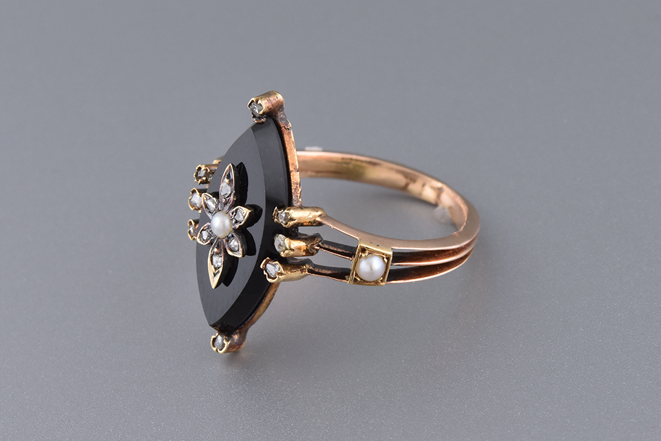 Antique Navette Onyx Ring with a Diamond Flower Center