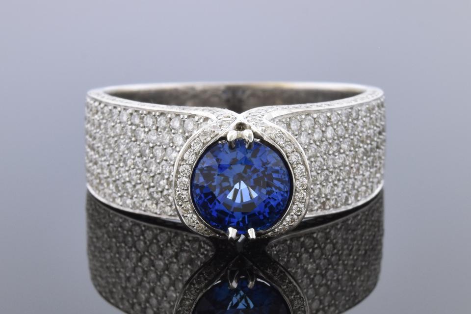 Item # 10146 Unique Contour Pave Diamond and Sapphire Ring 10146