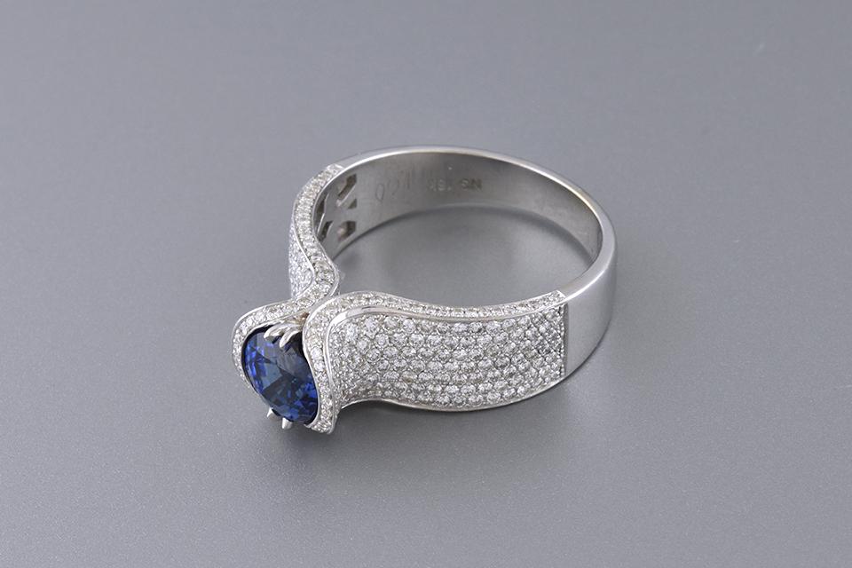 Unique Contour Pave Diamond and Sapphire Ring