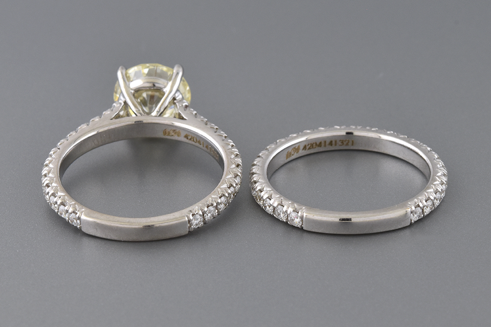 Cathedral Pavé 1.90 Carat Diamond Engagement Ring Set