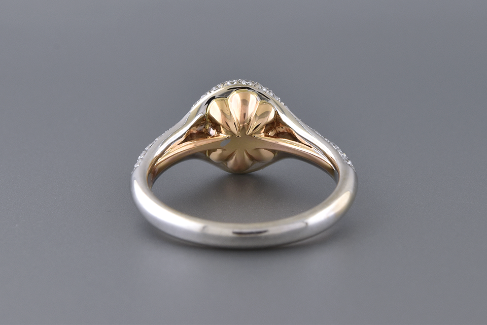 Pavé Diamond Engagement Ring with Rose Gold Accents