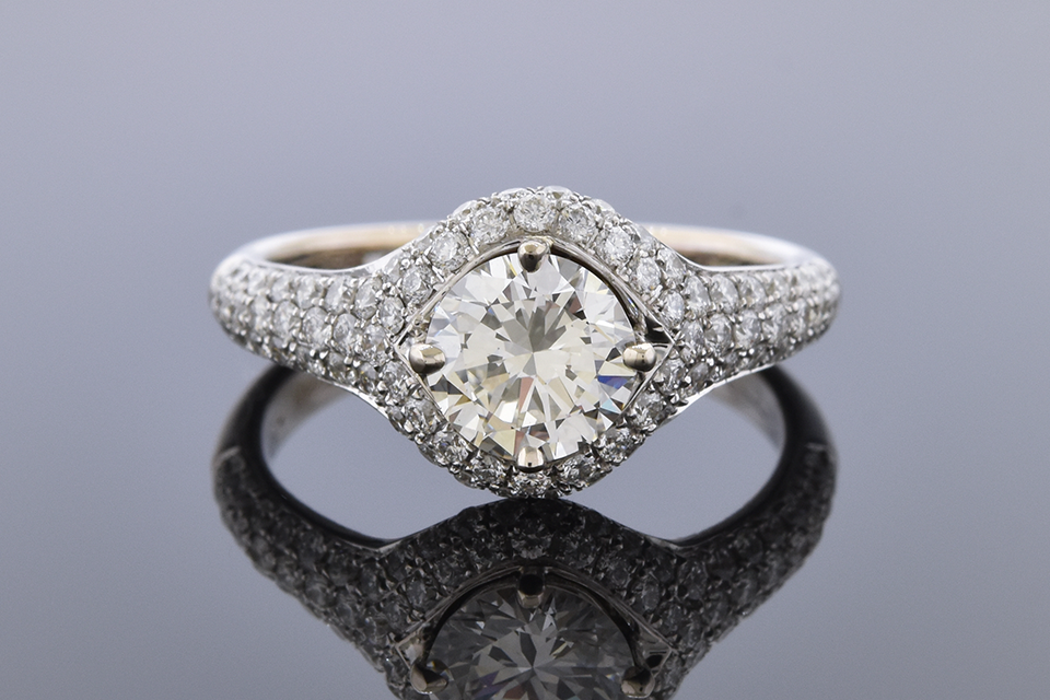 Item #11800 Pavé Diamond Engagement Ring with Rose Gold Accents 11800