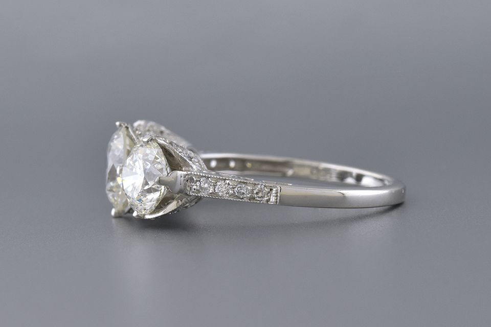 Three Stone Diamond Ring with Open Design Details
