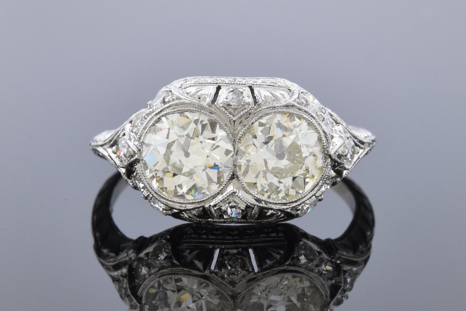 Item #11558 Art Deco Ring with Two Old European Cut Diamonds 11558