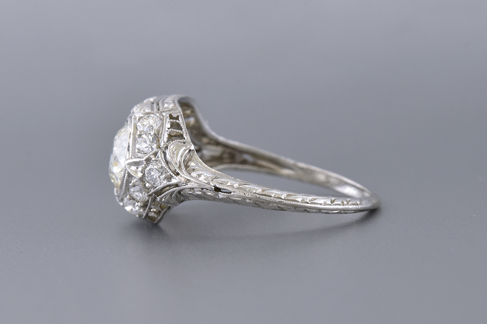 Art Deco Ring with Two Old European Cut Diamonds